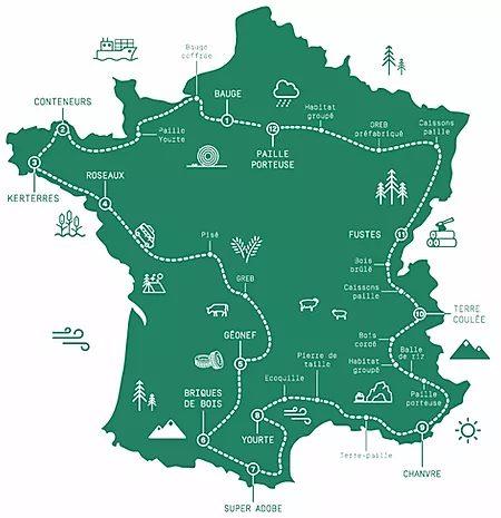Anatomies d'Architecture : carte du tour de France